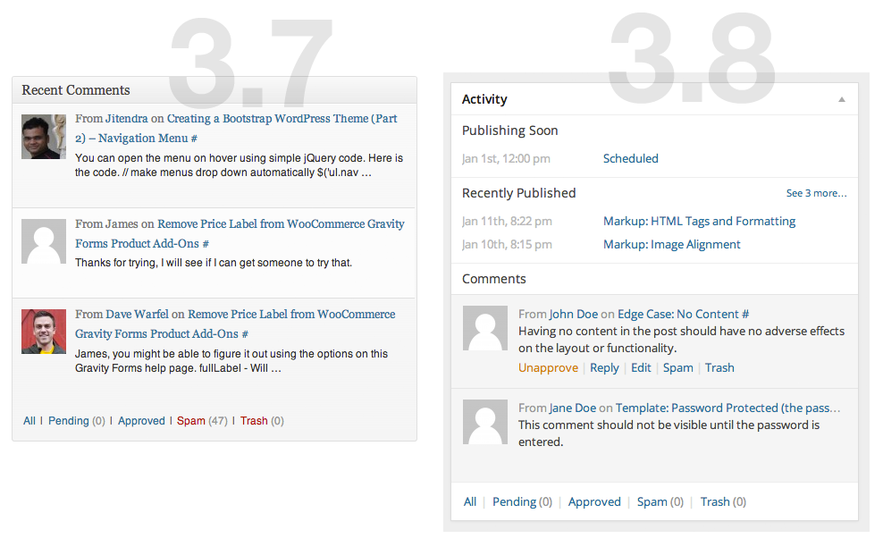 WordPress 3.8 Dashboard Changes - New Widgets, Improved UI