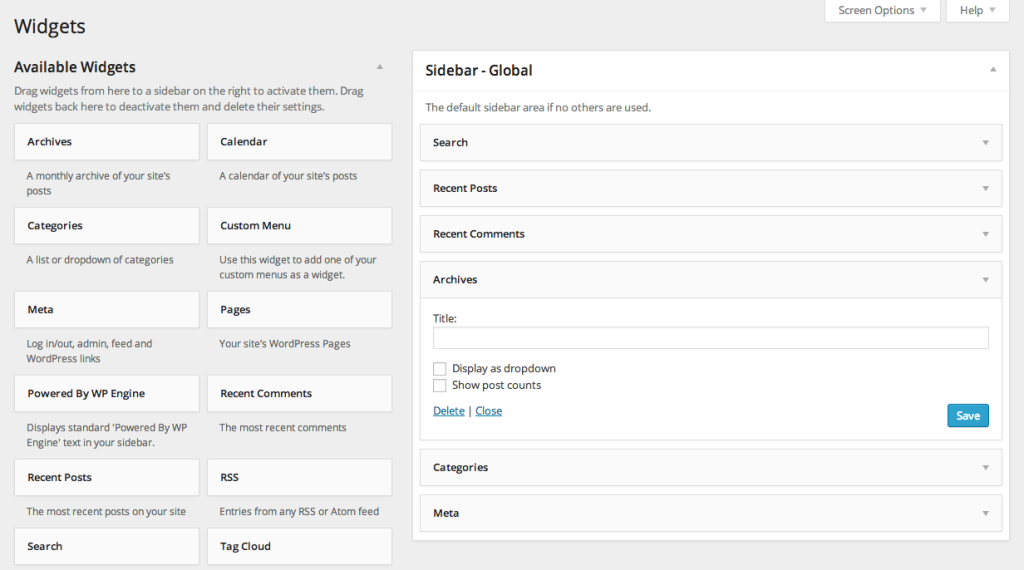 WordPress 3.8 Widgets Screen