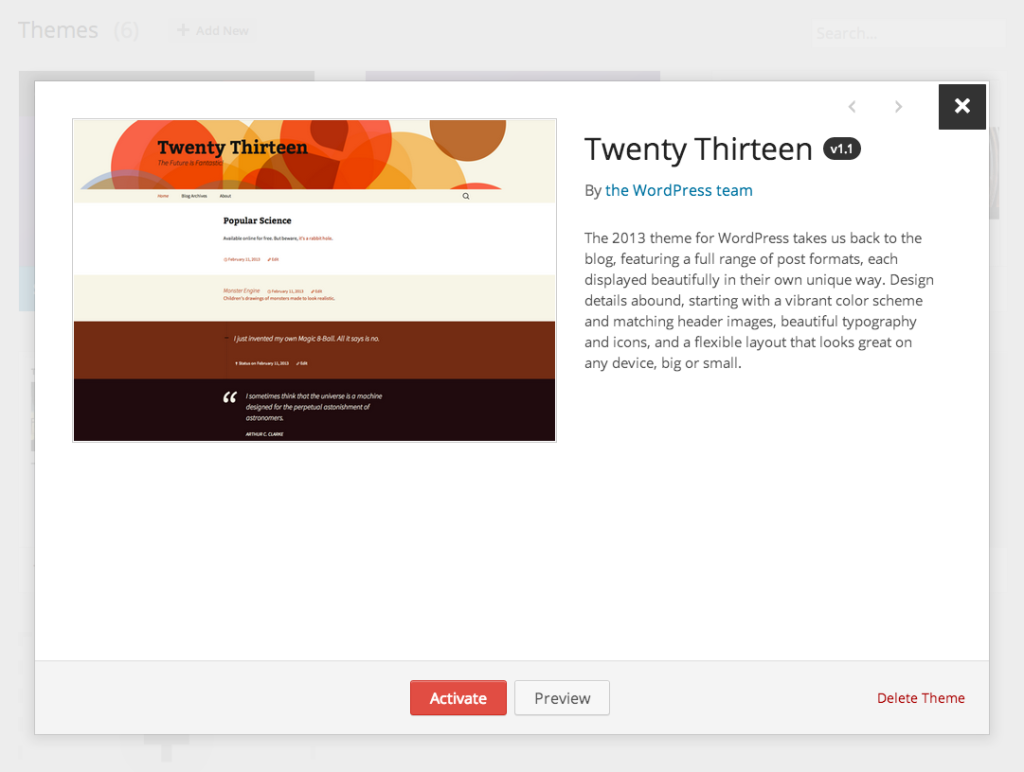 WordPress 3.8 Appearance > Themes Preview