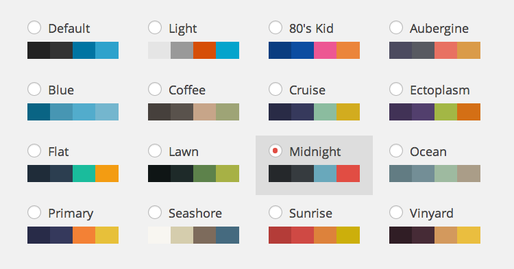 WordPress Admin Color Schemes (16)