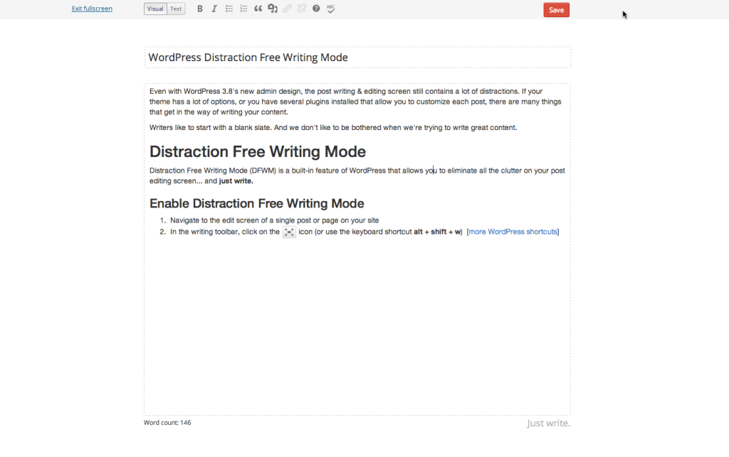 WordPress Distraction Free Writing Mode Example