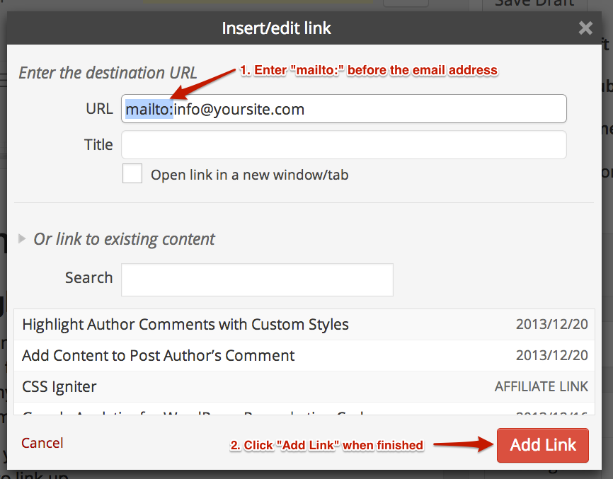 Link to email address - WordPress dialog