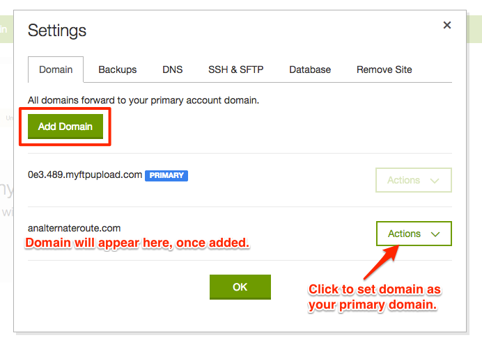 GoDaddy WordPress hosting set primary domain