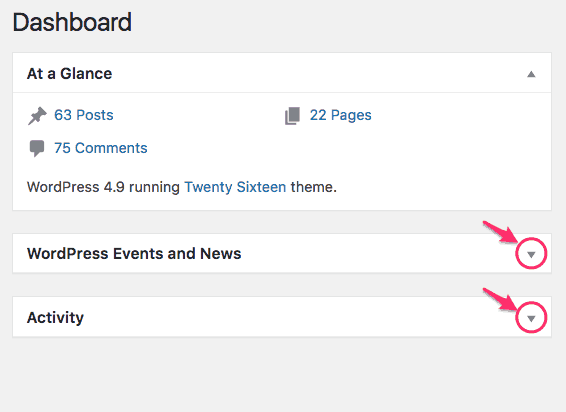 WordPress Dashboard minimize widgets