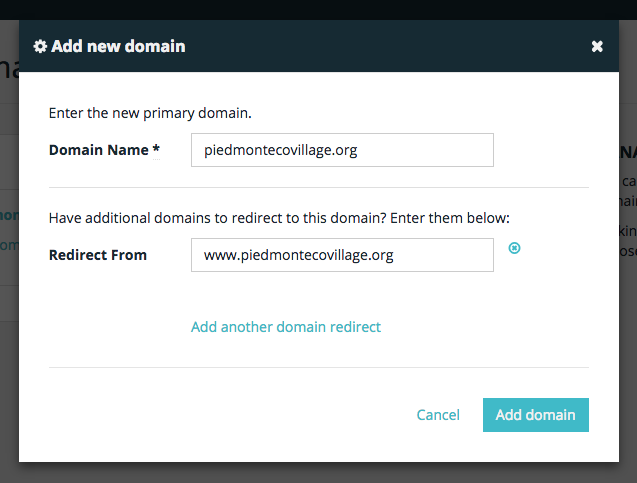 WP Engine's add new domain modal