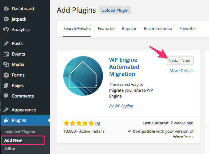 How to install WP Engine's automated migration plugin