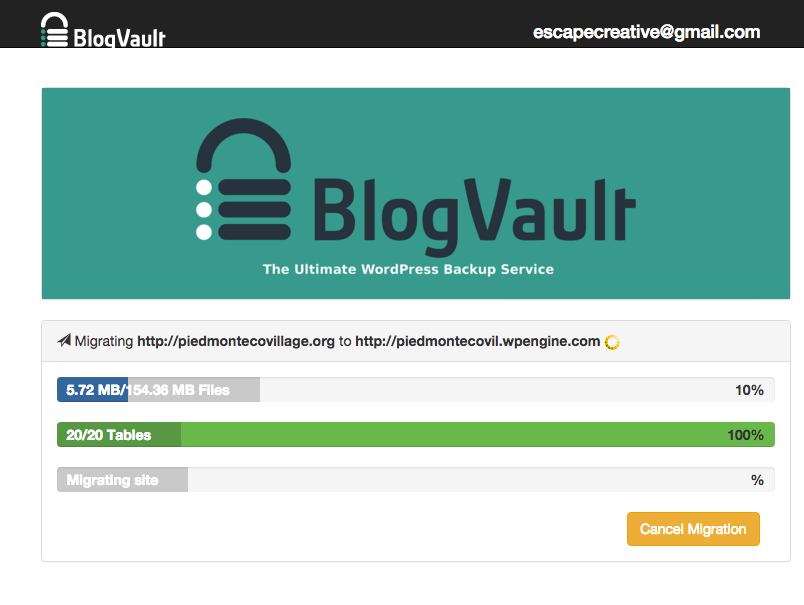 Example of a BlogVault migration status page