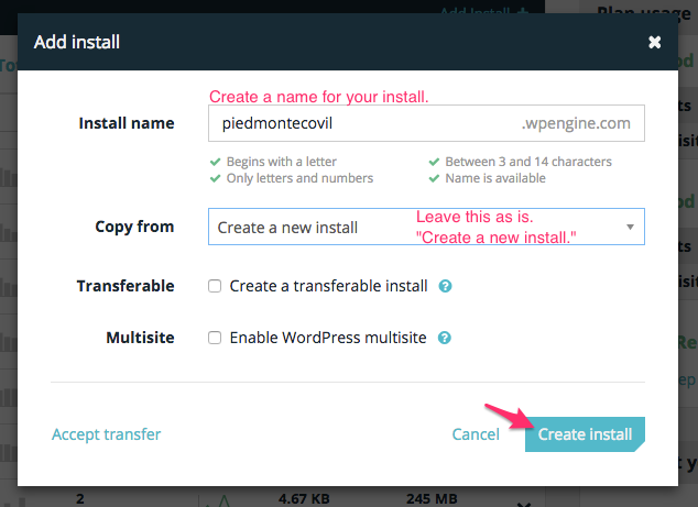 WP Engine's New Install Modal Window