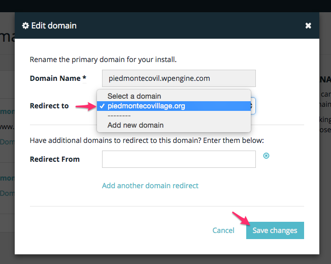 WP Engine redirect to your primary domain