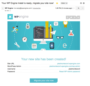 Example of a WP Engine migration email
