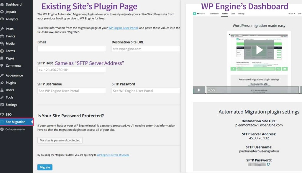 Side-by-side comparison of WP Engine's migration screens