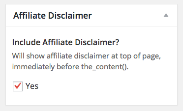 Affiliate Disclosure Meta Box
