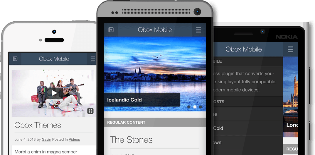 Obox Mobile WordPress Plugin device preview