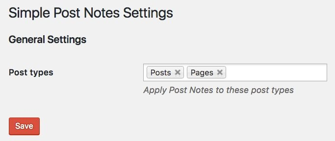 Simple Post Notes plugin settings