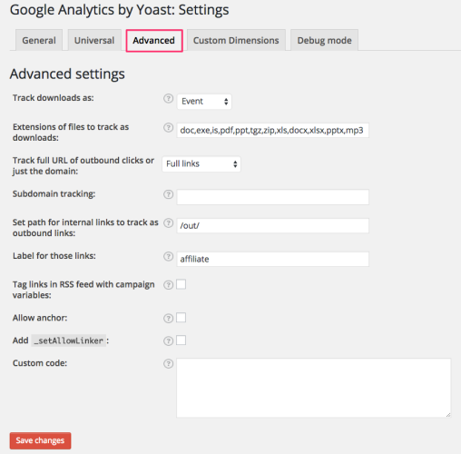 Google Analytics by Yoast - advanced settings