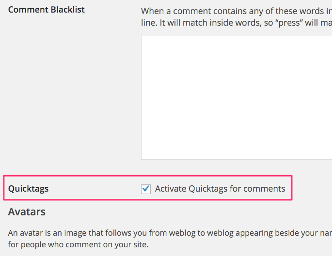 WordPress Basic Comment Quicktags Settings