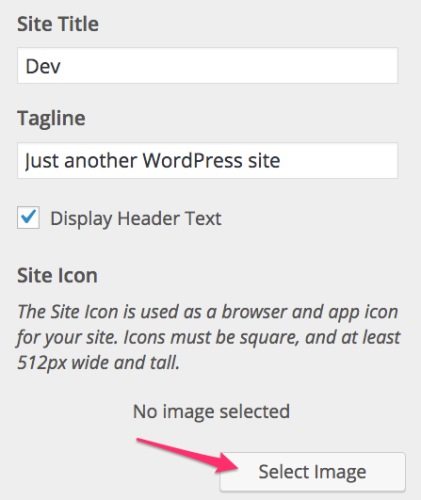 Add Favicon to WordPress, select image