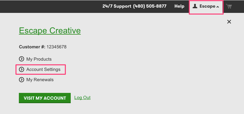 GoDaddy Account Settings from Top Nav