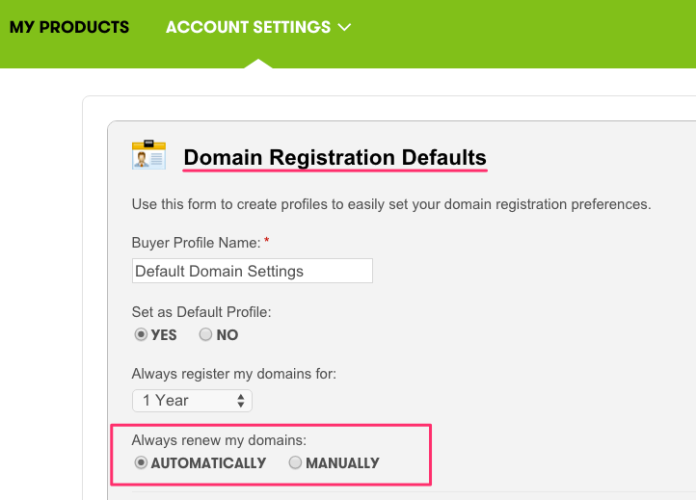 GoDaddy Domain Defaults Page