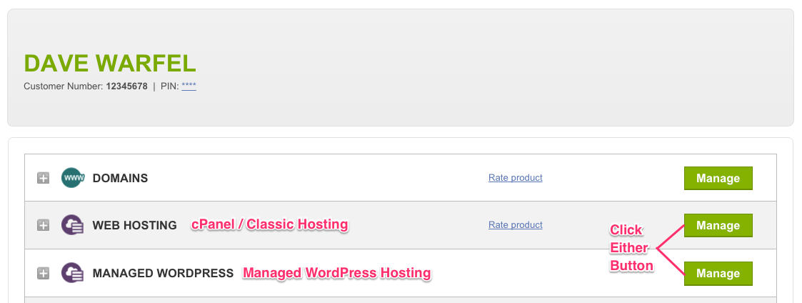 GoDaddy Account Hosting Control Panel Links