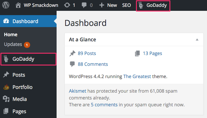 Confirm GoDaddy WordPress Hosting in Admin
