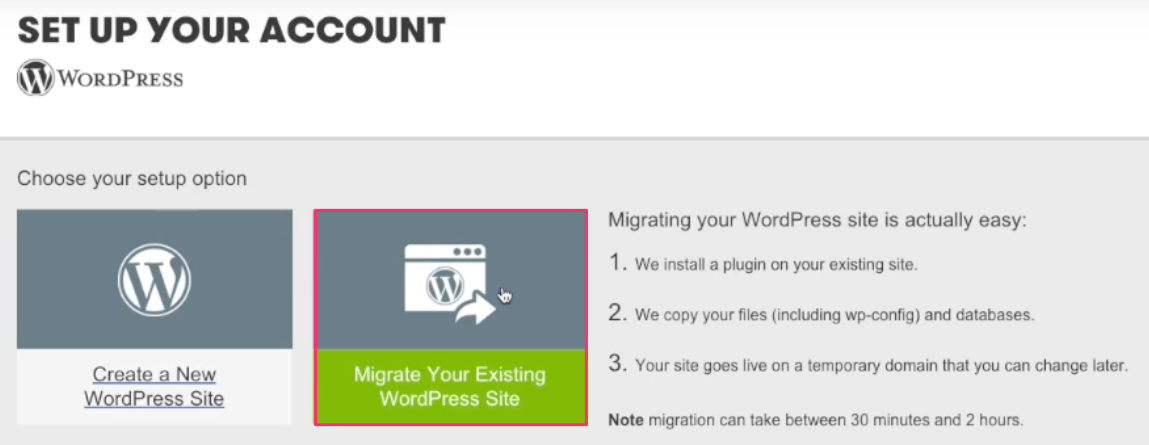 GoDaddy WordPress Hosting Migration Button