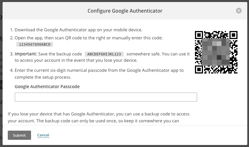 MailChimp's Google Authenticator setup instructions