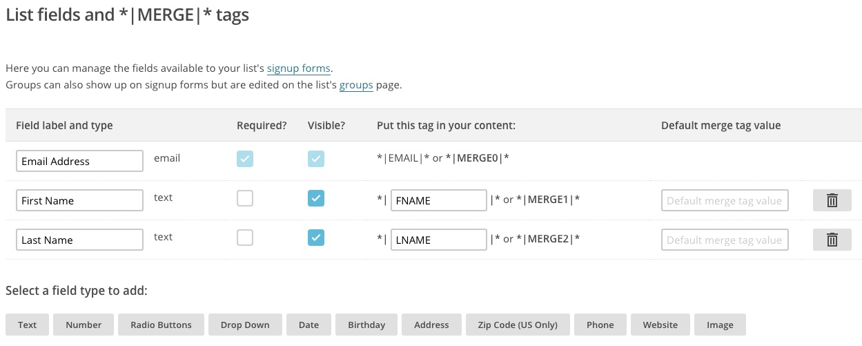 MailChimp list fields & MERGE tags screen