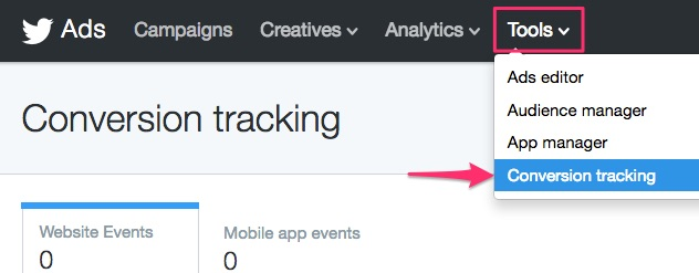 Twitter navigation: Tools > Conversion Tracking