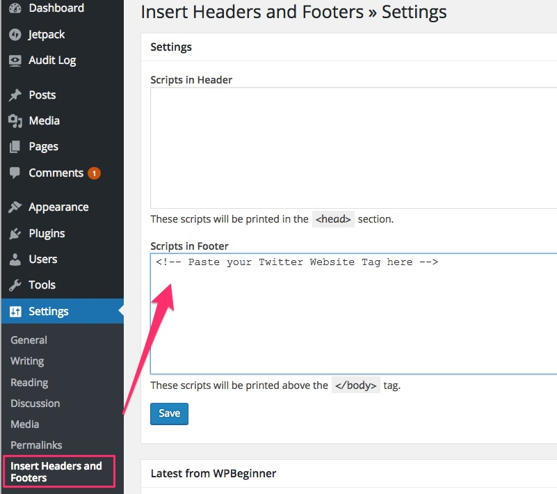 Add Twitter website tag with WordPress plugin