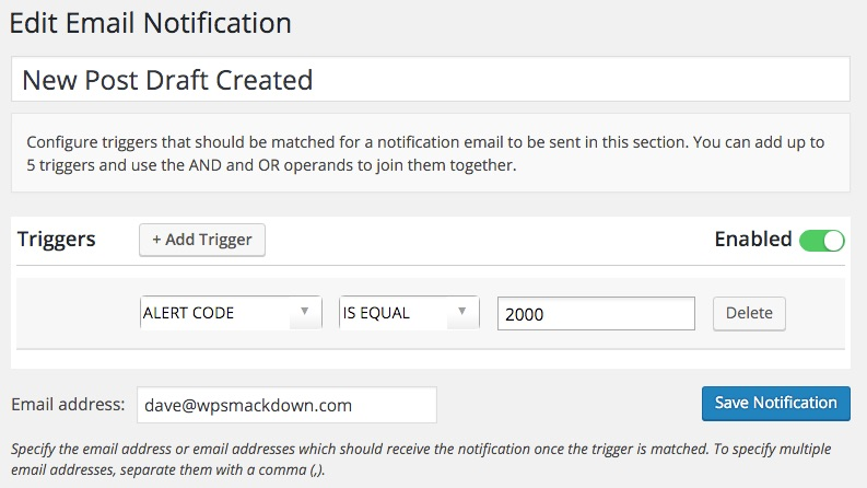 WP Security Audit Log custom email notifications