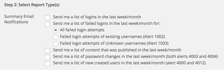 WP Security Audit Log report types