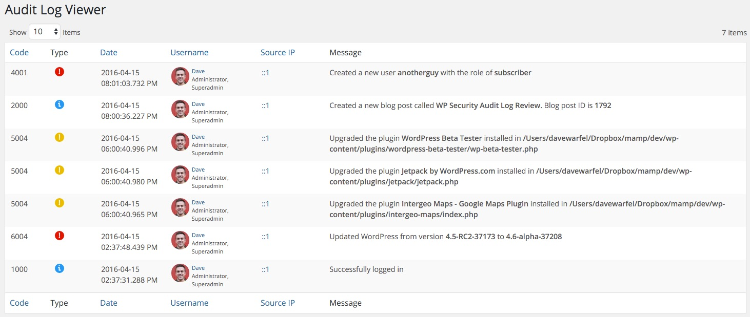WP Security Audit Log Viewer