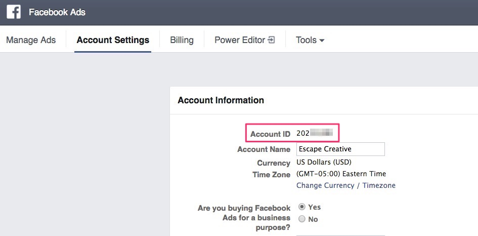 Find your Facebook Ad Account ID