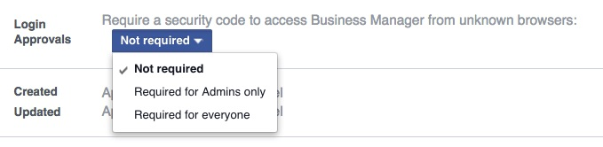 Facebook Business Manager login approvals