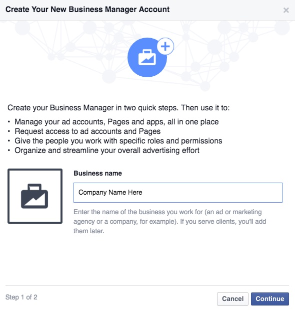 Facebook Business Manager setup step 1