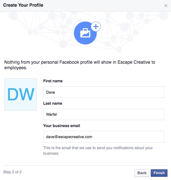 Facebook Business Manager setup step 2