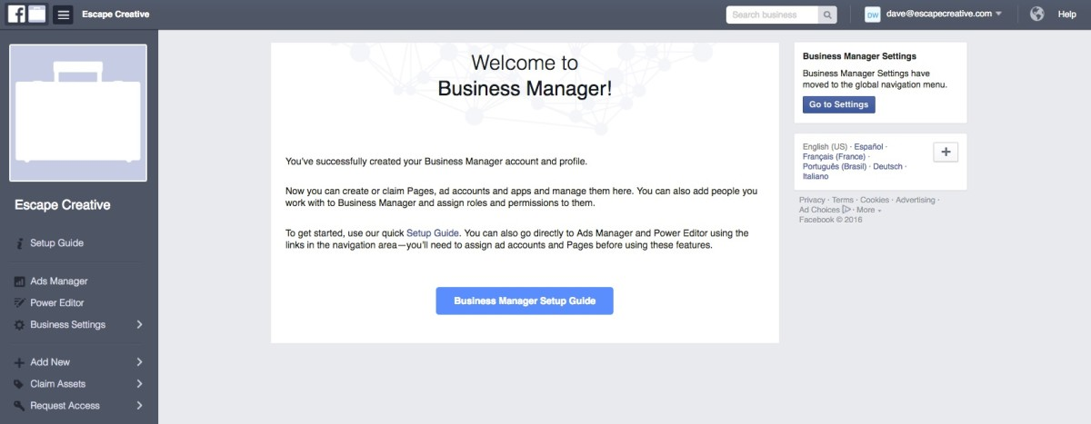 Facebook Business Manager welcome screen