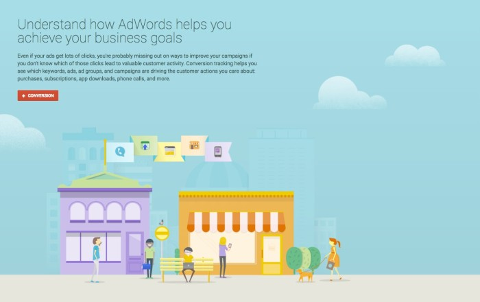 Google AdWords Conversion Tracking landing page