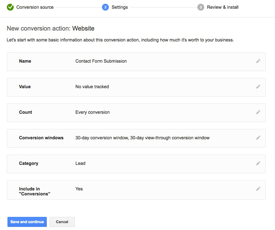 Google AdWords conversion tracking settings