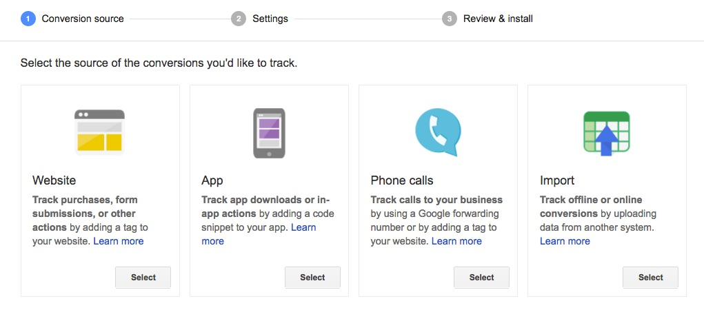 Google AdWords conversion tracking setup step 1