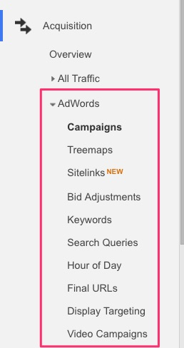 Google Analytics AdWords reports