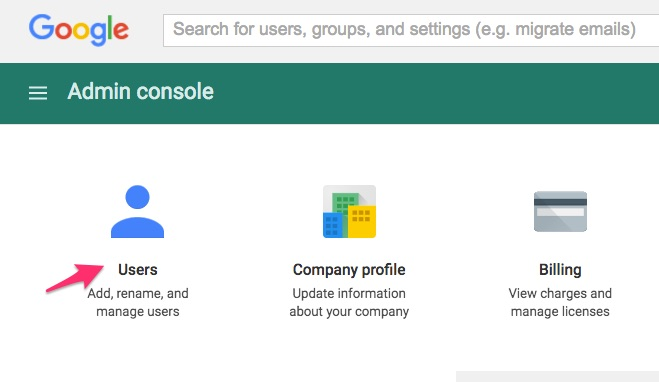 Google Apps for Work Users Menu