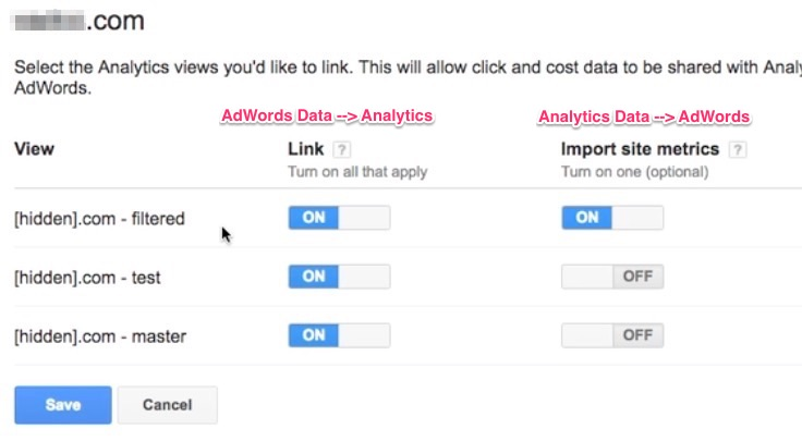 Link AdWords to Analytics, select Views