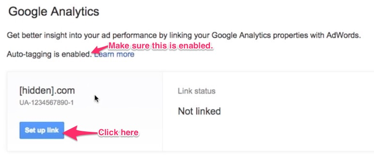 Link AdWords to Analytics - choose property