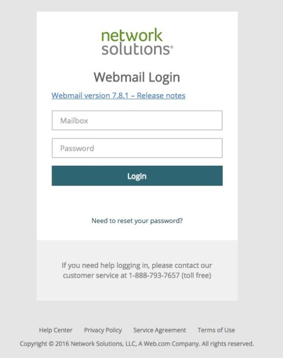 Network Solutions Webmail login screen