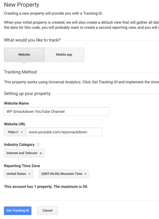 Google Analytics New Property Information