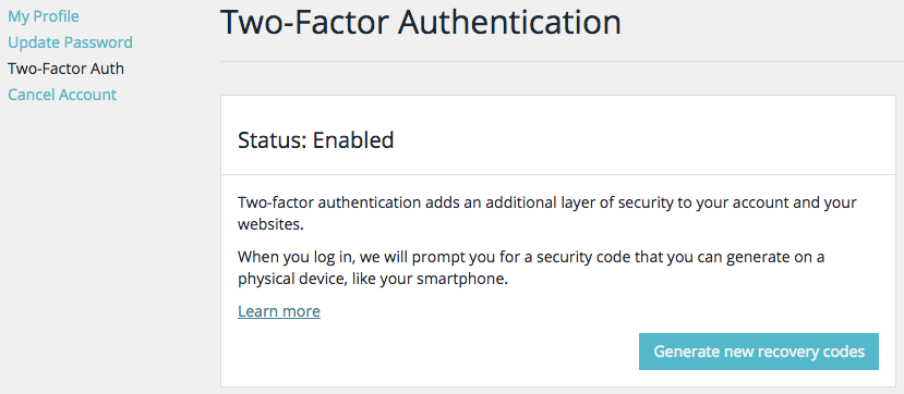WP Engine's two-factor authentication screen