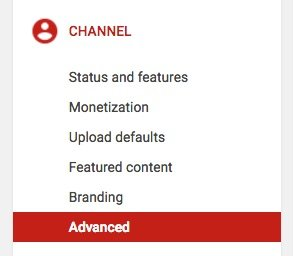 YouTube Channel, advanced settings