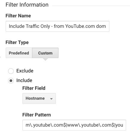 Google Analytics YouTube Channel filter